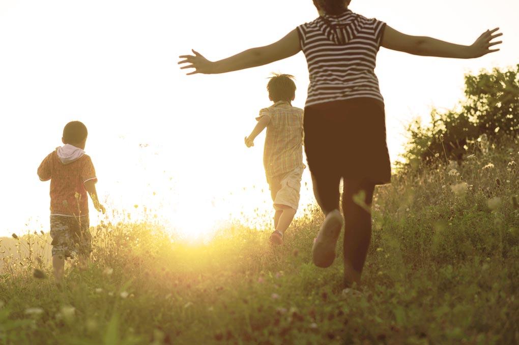 Children In Field Running